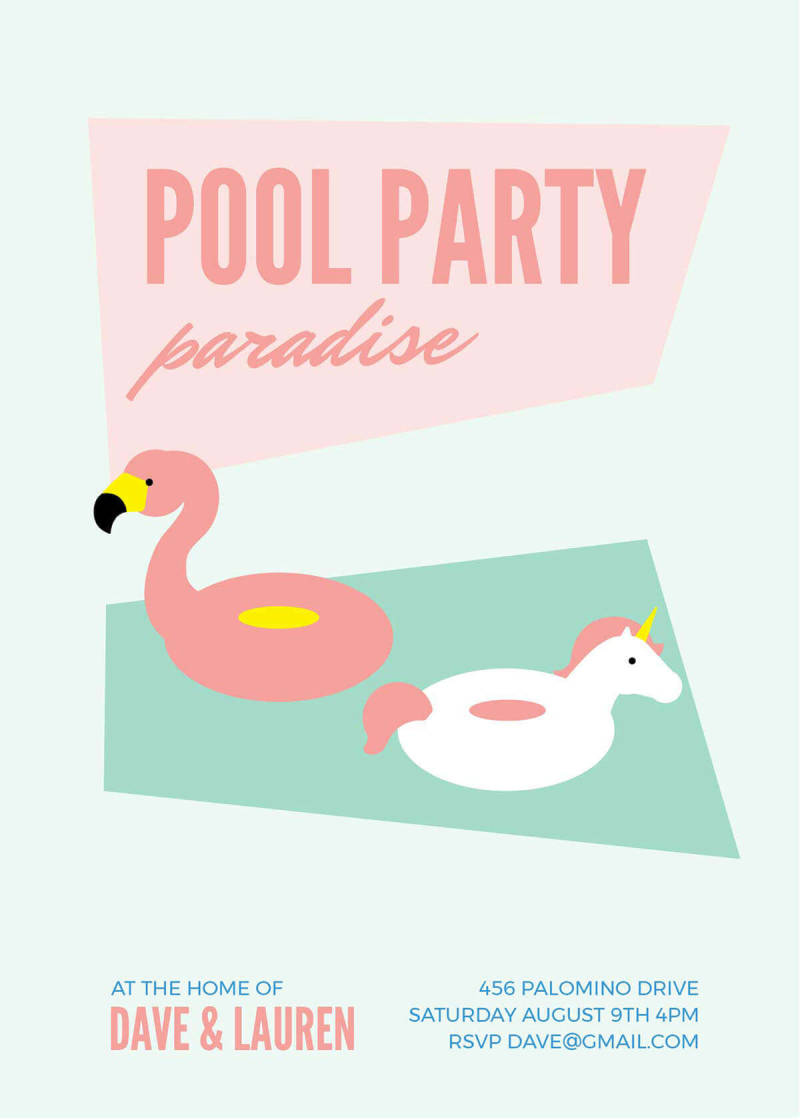A summer party invitation template featuring flamingo and unicorn pool toy graphics.