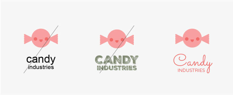 Choose a font that matches your brand message, like this script font for a candy company logo.