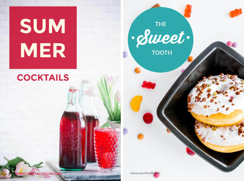 Make beautiful, image-centric Pinterest pins with PicMonkey's templates. These pins advertise donuts and summer cocktails for faux companies.