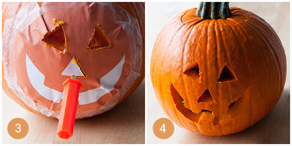 Next two steps for pumpkin carving glory.