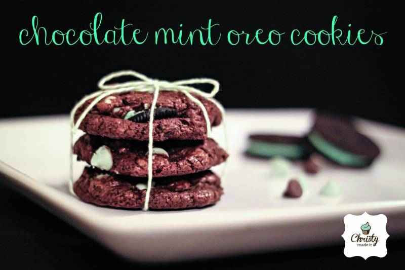 Homemade chocolate mint oreo cookies for our holiday photo challenge.
