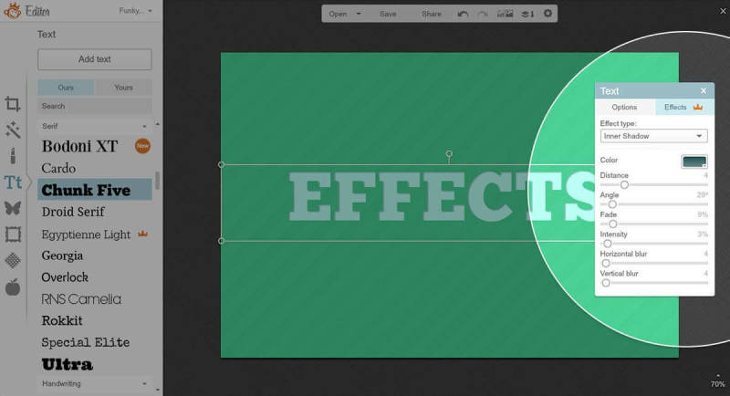 You can choose between three stellar text effects in PicMonkey's Design and Edit tools.