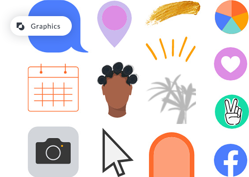 PicMonkey's collections of graphics, from plants, to marker strokes, to icons and social media stickers.