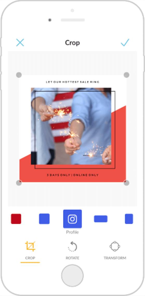 Instagram sizing on PicMonkey Mobile.