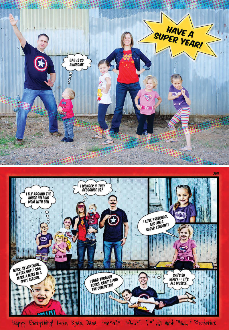 Bettijo of Paging Supermom inspires us to create superhero New Years cards of our own.
