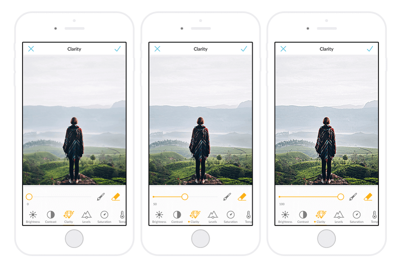clarity, adjustments, paint on, mobile app, picmonkey
