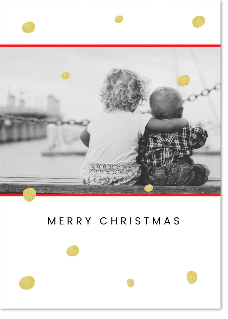 black and white photo christmas card simple diy xmas card template