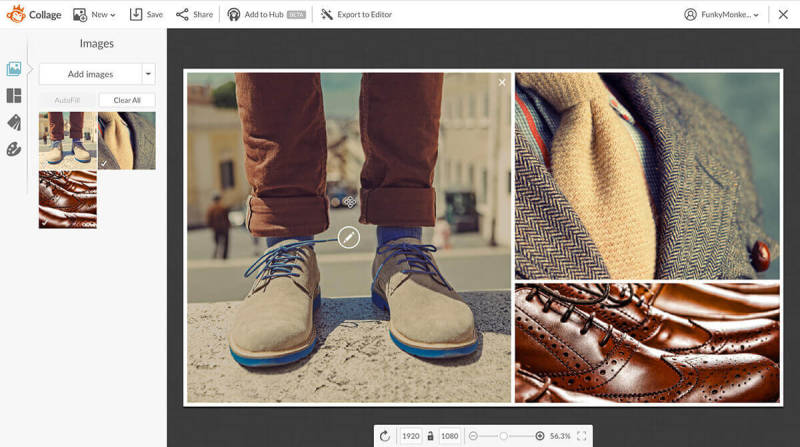 Make a collage out of your product shots (like these men's shoes, jacket, and tie) in PicMonkey, then add it to your slide presentation to make it more interesting.