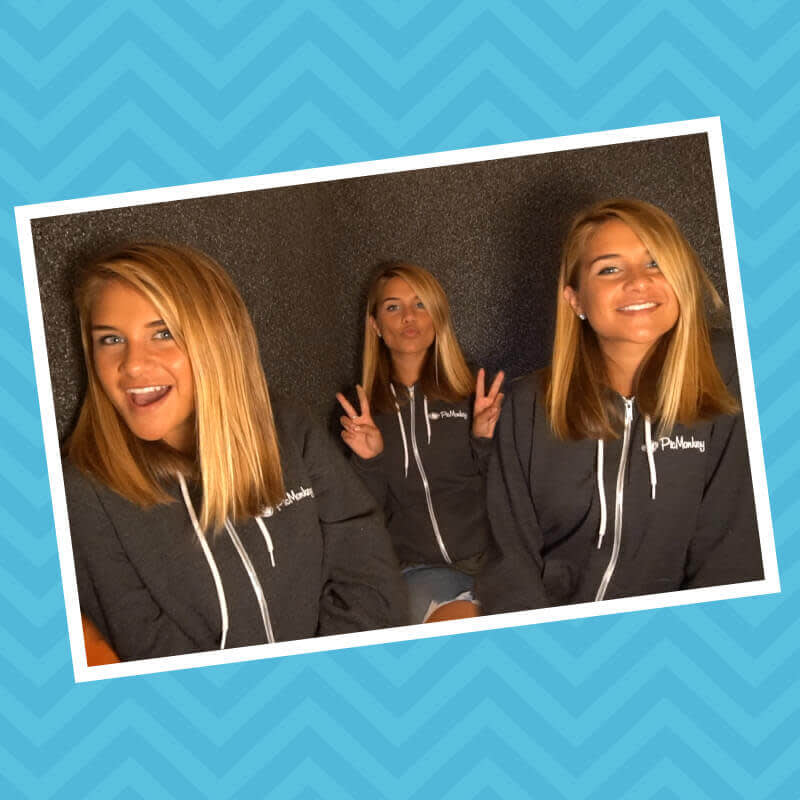 Multiplicity photography: woman cloned three times via photo editing.