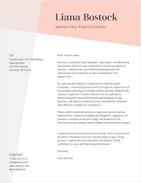 Liana Bostock - Cover Letter Template