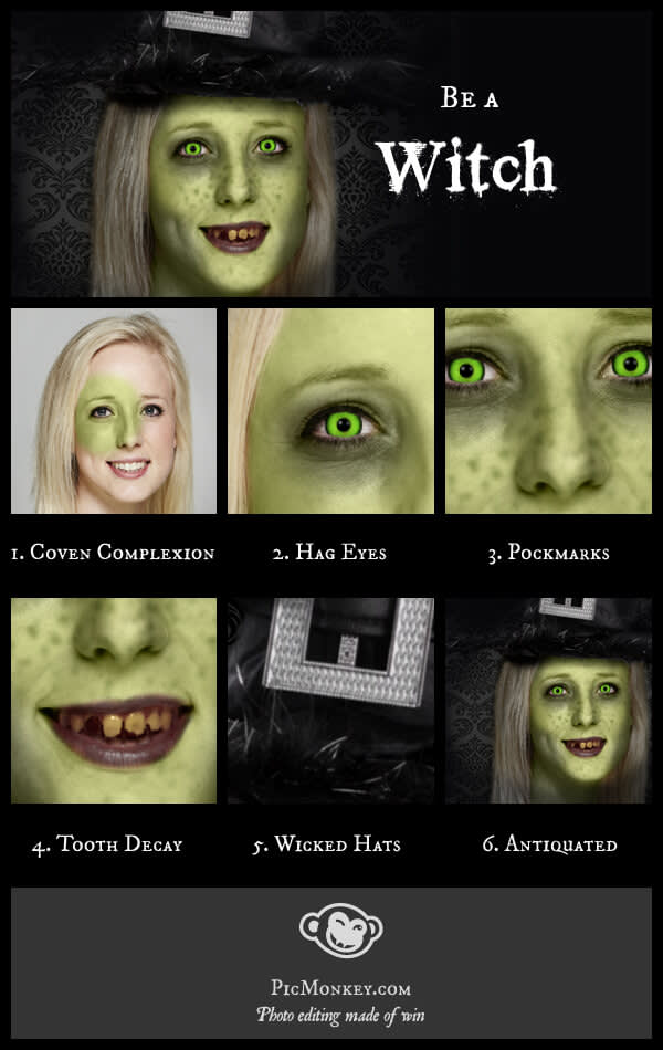 Step by step guide to witch photo effects on PicMonkey, divided into six parts.