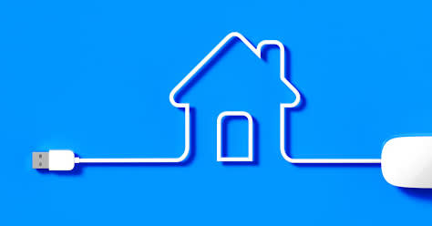 Real estate marketing workshop design with blue backdrop and graphic of home made to look like it has been designed from a computer mouse cord.
