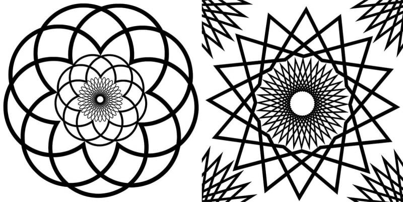 Make an adult coloring book with our spirograph graphics.