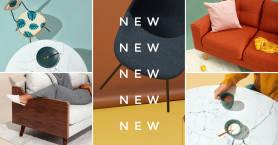 Plantilla de portada de collage de Facebook de PicMonkey para anunciar la llegada de nuevos productos.