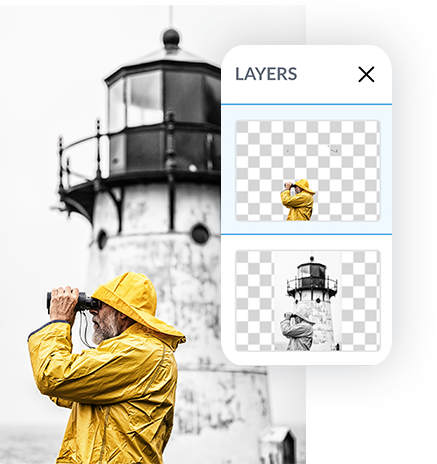Color splash with background eraser man with yellow rain jacket