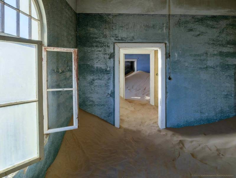 Inside a building in Kolmanskop, the abandoned diamond mining town. Namibia photos taken by Frits Habermann.