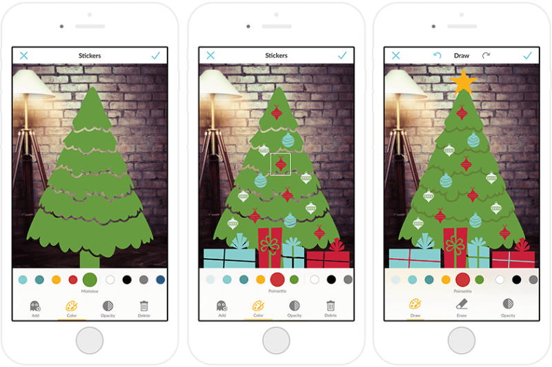 Decorate a virtual pine tree with the holiday stickers in the PicMonkey mobile app.