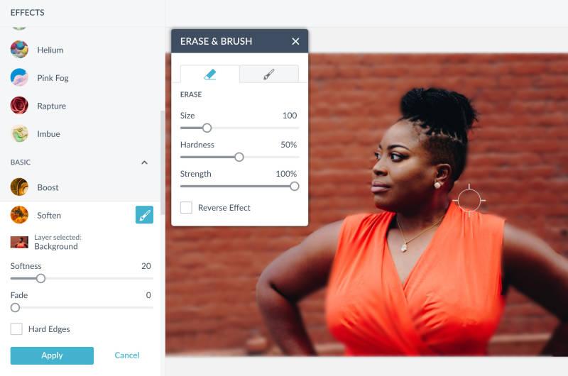 use el control deslizante de suavidad para ajustar el desenfoque de sus fotos