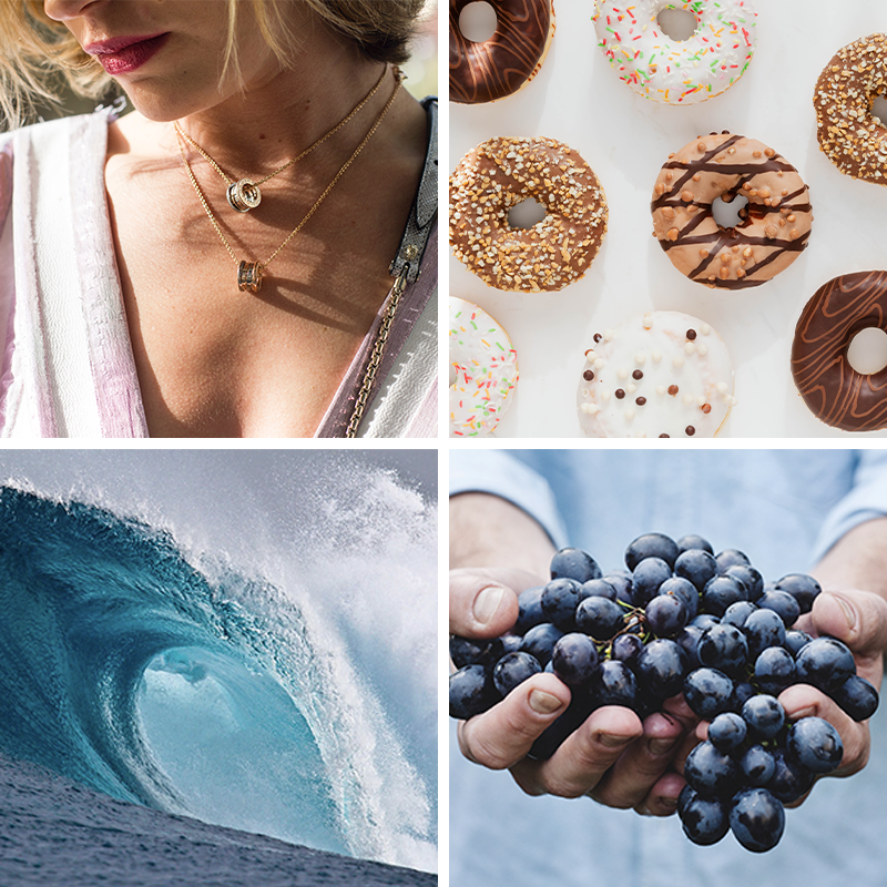 Collage of free stock photos, including large ocean wave, donuts, close-up of a woman's necklace, and two hands holding a large pile of blueberries.