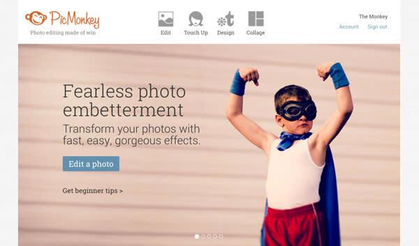 PicMonkey homepage carousel.