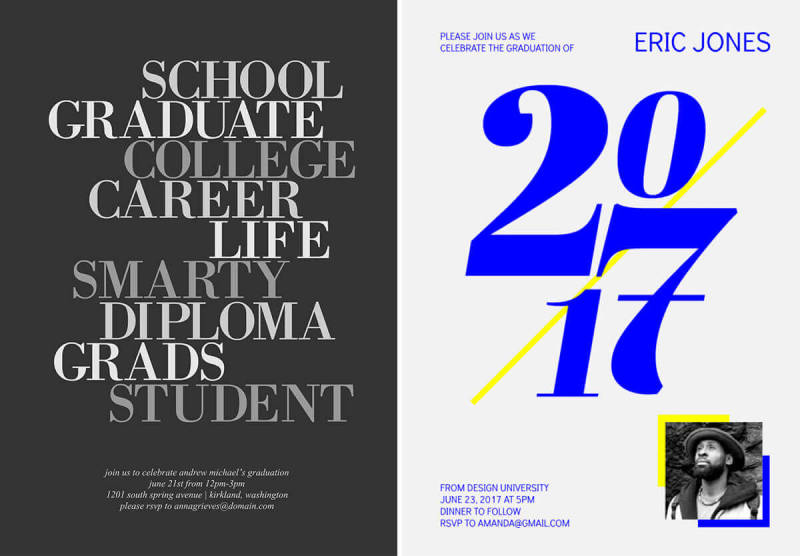 These modern, typographic graduation announcement and party invitation templates are easy to customize with PicMonkey.