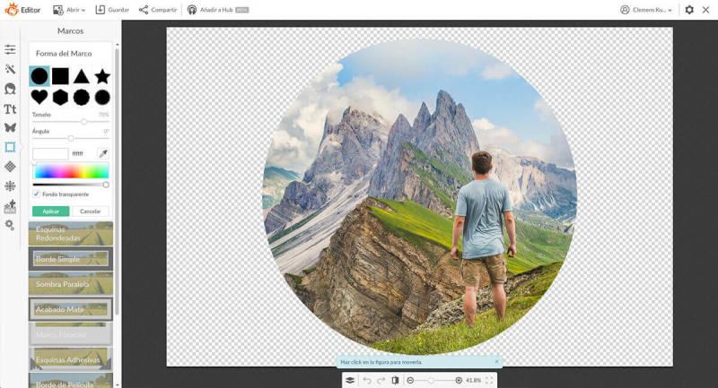 Para crear una imagen circular en PicMonkey, ve a la pestaña de Marcos y a Formas del Marco.