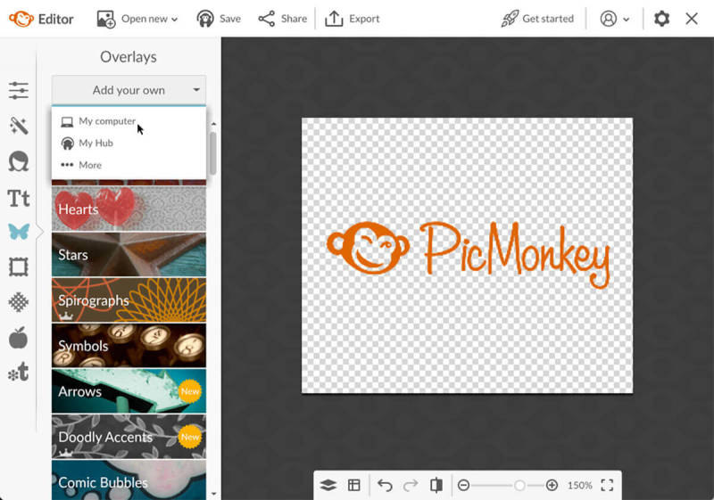 Add your own graphic (graphic) in PicMonkey.