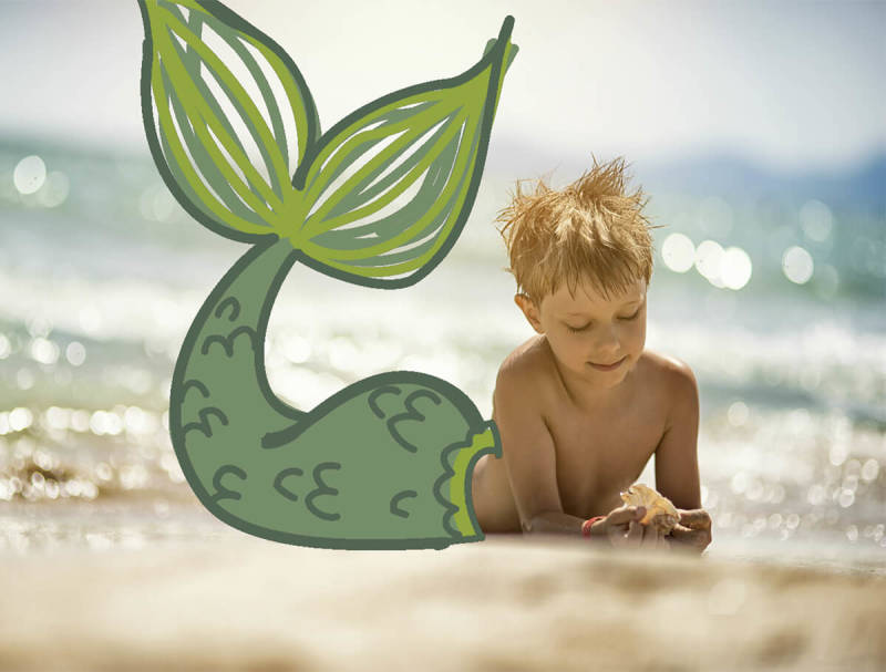 This green merfolk tail was added to a boy's photo using the Draw tool.
