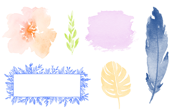 PicMonkey watercolor graphics: flower graphic, leaf graphics, feather graphics, blob graphic.