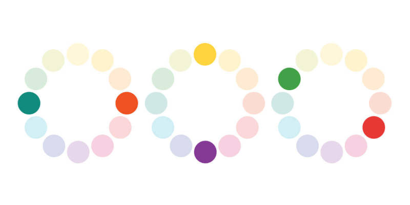 Use color wheels to determine complementary colors when making a color palette for your marketing materials.