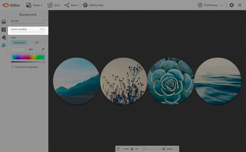 Adjust the spacing between your circular images with PicMonkey's collage maker.