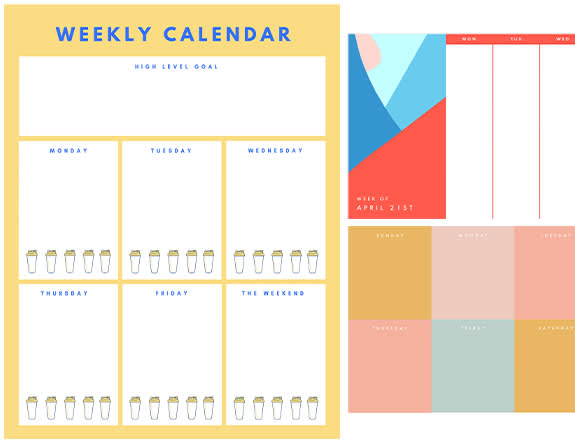 Make a customizable printable weekly calendar with one of PicMonkey's templates