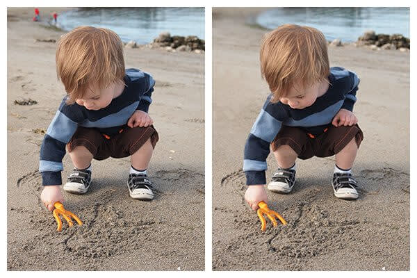 PicMonkey's 5 basic photo editing tips include removing distractions in your background. See how we removed the people in the background of this photo of a little boy on the beach?