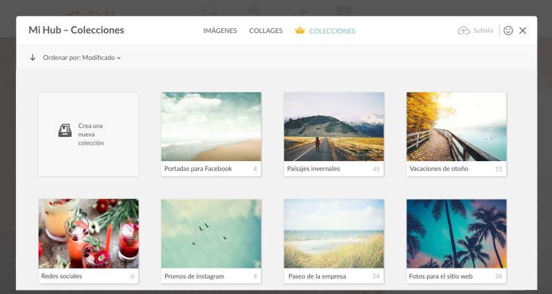 La función Colecciones de Supremium te permite organizar tus fotos de forma práctica en el Hub.
