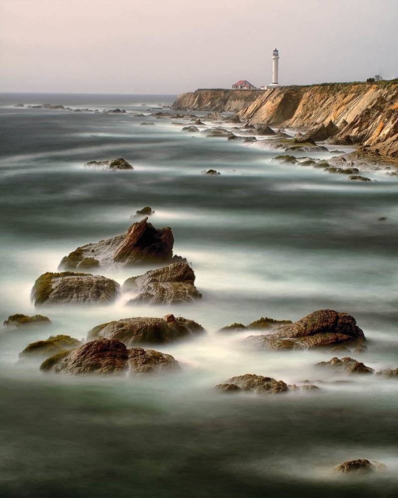 Frits Habermann's water photography of Point Arena Lighthouse, California USA.