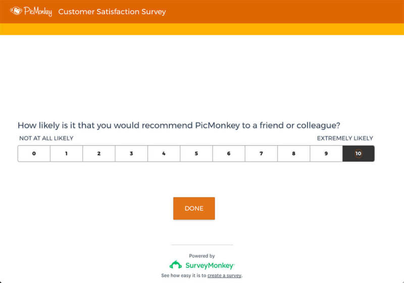 A survey sent out to PicMonkey users, created in SurveyMonkey.