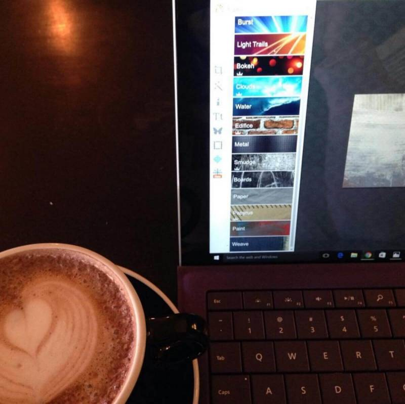 A PicMonkey user chills out with latte art in this user-taken photo.