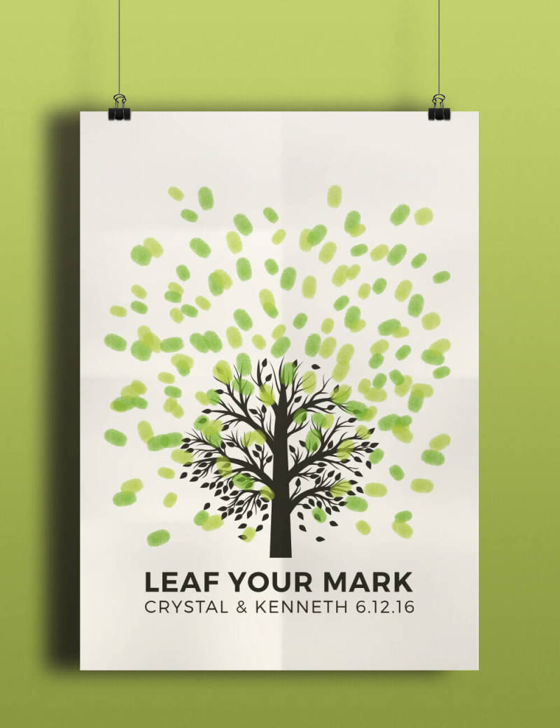 Create a poster that wedding guests can put their signatures and thumbprints on instead of having a traditional guest book.