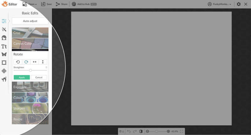 Rotating a blank canvas in PIcMonkey is easy, with clockwise and counterclockwise arrows.