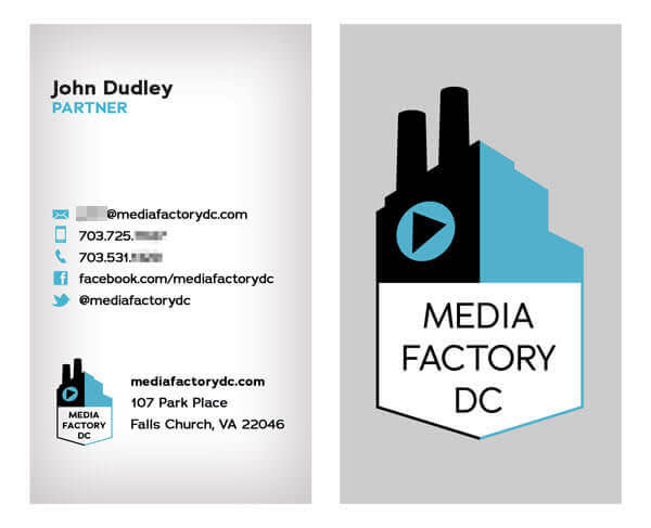 This blue, black, grey, and white business card design features social media icons and information.