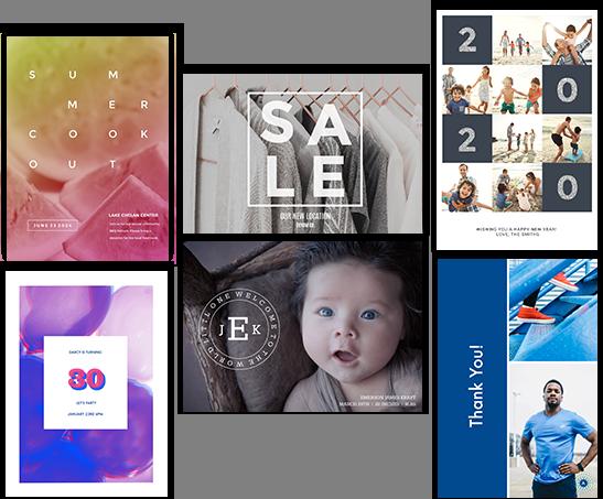 Plantillas de creadores de tarjetas en línea que incluyen tarjetas de cumpleaños, tarjetas de agradecimiento, tarjetas de aniversario, anuncios de nuevos bebés e invitaciones de graduación.