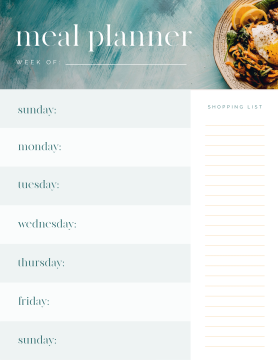 Weekly schedule maker template for meal planning