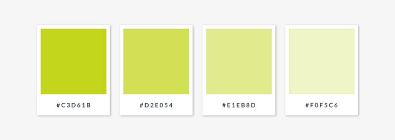 monochromatic palette  - yellow greens
