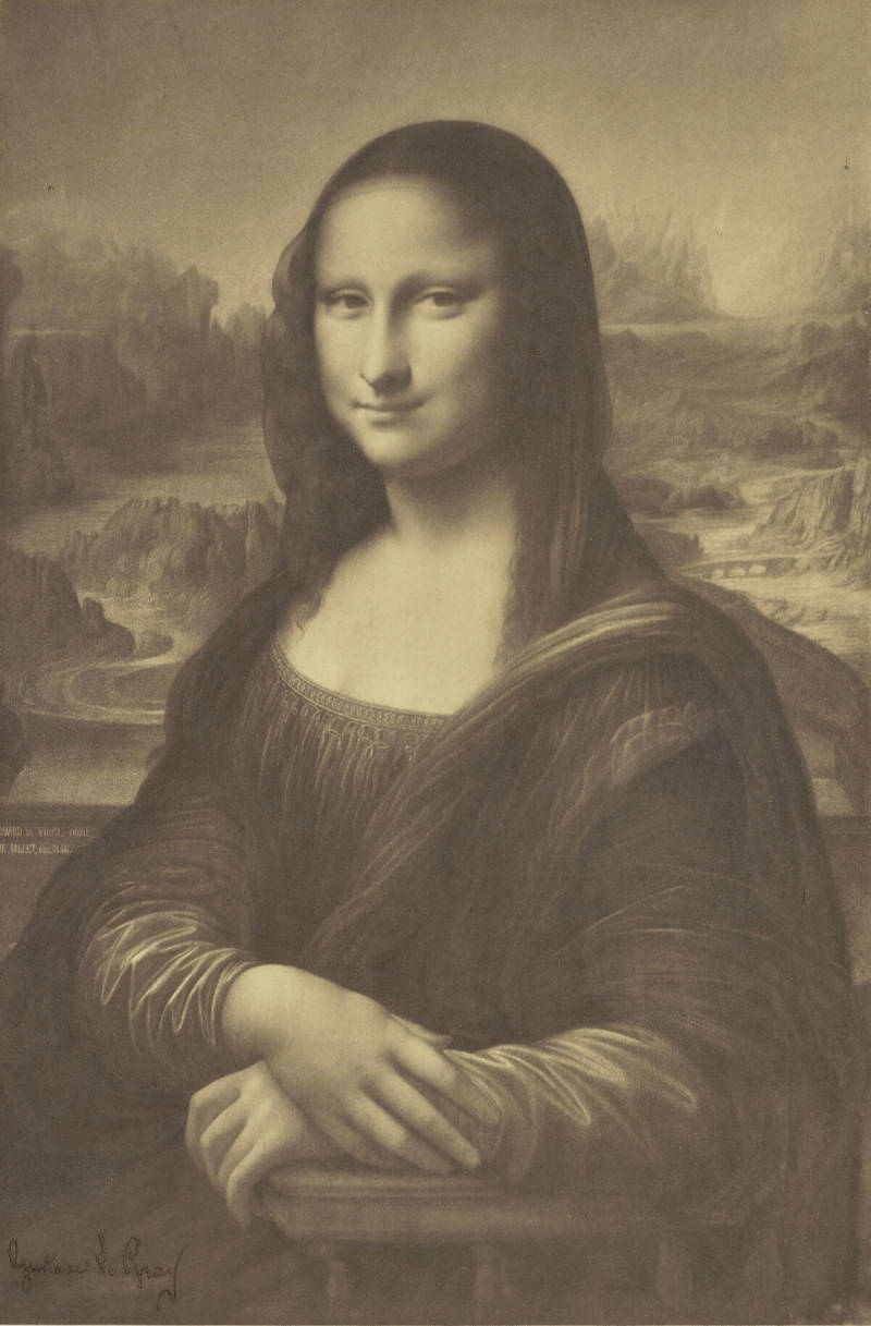 The quest for public domain images can yield familiar faces, like this sketch of the Mona Lisa captured on film.