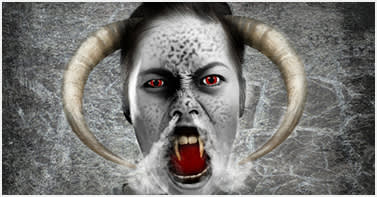 girl with horns out of her head
