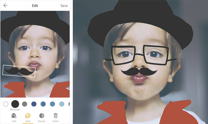 The PicMonkey mobile app turns a kiddo into a hipster, with Draw and a mustache sticker.