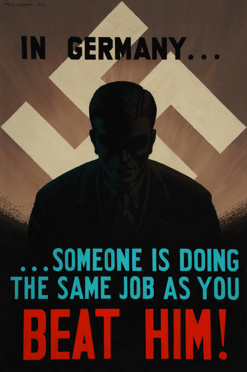 British WWII propaganda poster designed to increase wartime productivity.