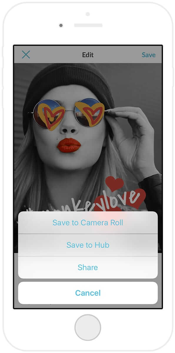 Save to your phone or to Hub with the PicMonkey mobile app, or share via social media.