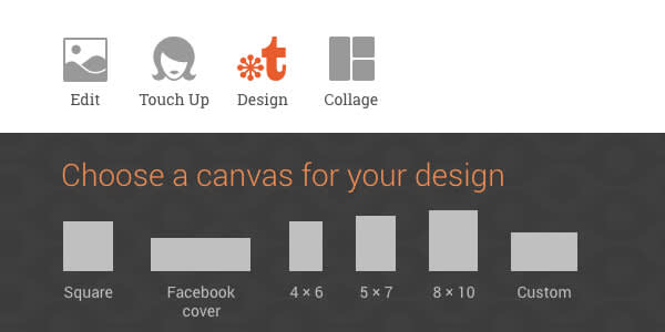 Various canvas sizes available in PicMonkey's Design tool, or the option to select your own.