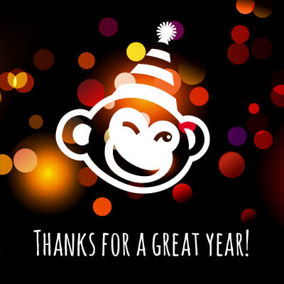 image of The Monkey in a party hat saying